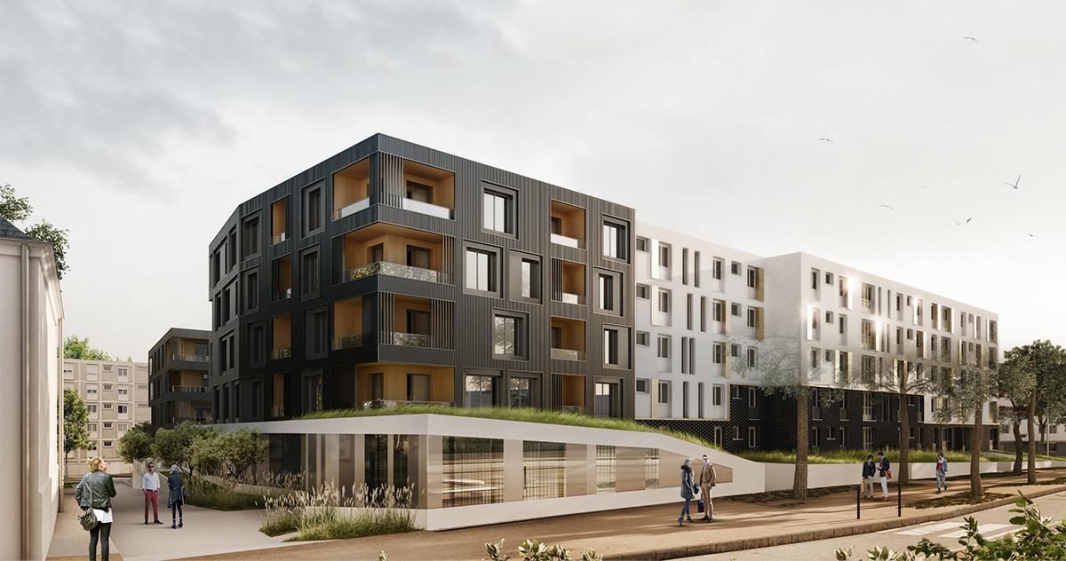 logements lippmann nantes laus architectes. Black Bedroom Furniture Sets. Home Design Ideas