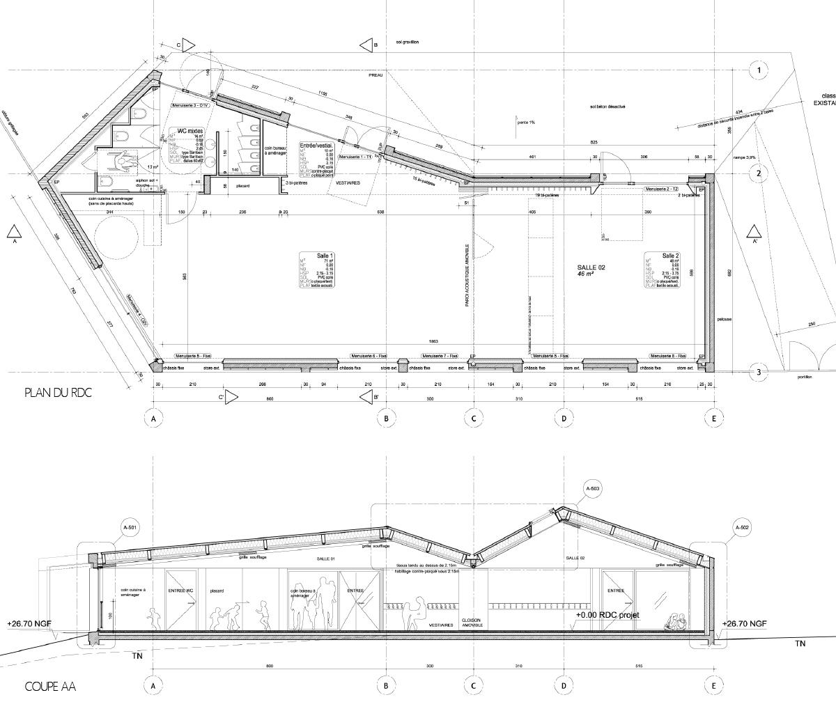 espace carole artaud st fiacre sur maine laus architectes. Black Bedroom Furniture Sets. Home Design Ideas